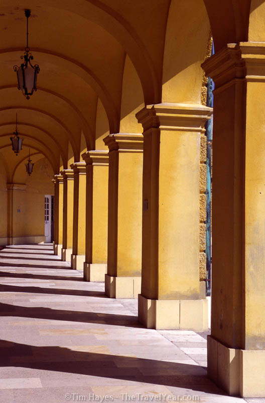 Arches of the Schloss Schönbrunn, a 1,440-room palace on the outskirts of Vienna with a richly appointed interior and magnificent gardens. The palace hosted Mozart's first royal concert when the composer was only six years old.