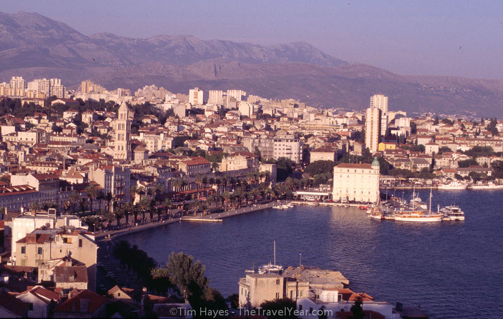 A view of Split's harbor from above.
