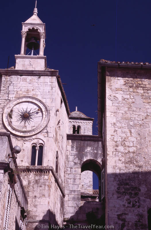 A clock tower in Split, the largest town on Croatia's Dalmatian coast.
