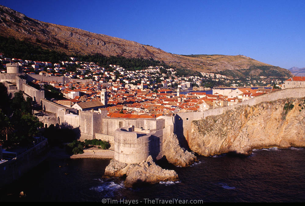 Dubrovnik's old town, surrounded with an impressive 13-16th century wall that is two kilometers in circumference and up to 25 meters high.