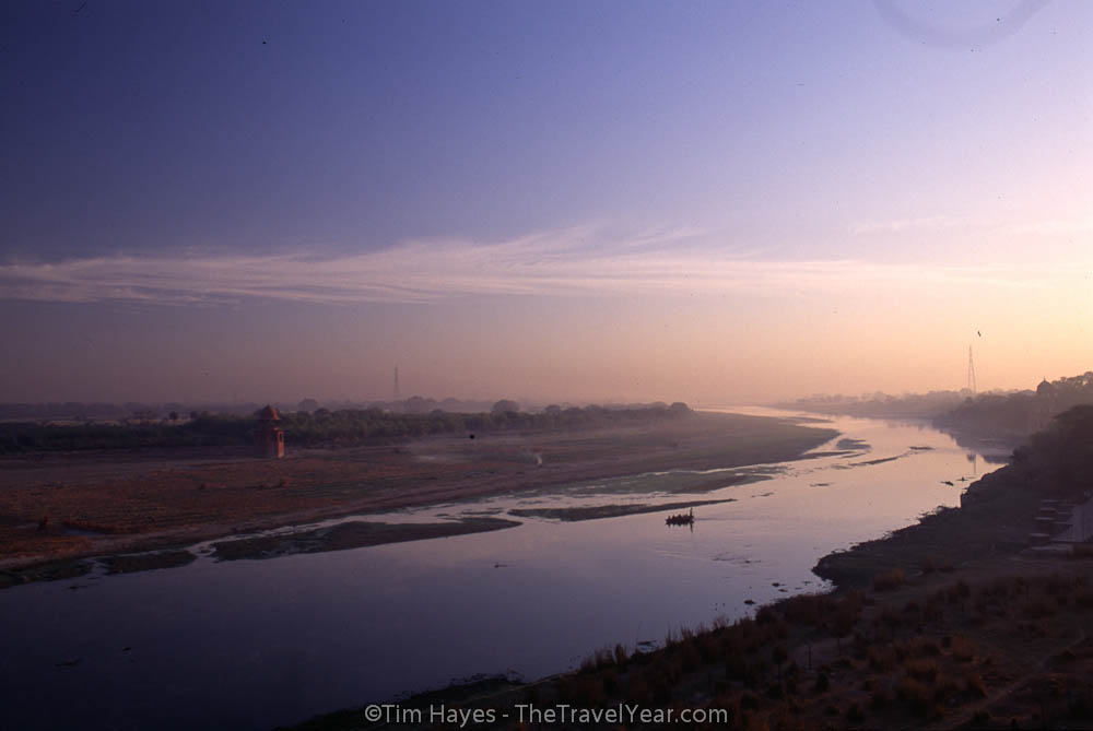 A view from the Taj Mahal of the Yamuna River shortly after sunrise.